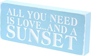 """Barnyard Designs All You Need is Love and A Sunset Box Sign Rustic Vintage Coastal Beach House Home Decor 12"""" x 5"""""""