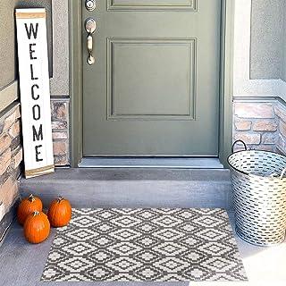 Uphome Indoor Outdoor Doormat 2'x3' Boho Cotton Area Rug Hand Woven Moroccan Geometric Throw Rugs Machine Washable Farmhou...