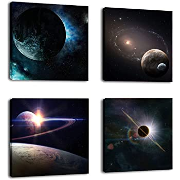 Wieco Art Giclee Canvas Prints Wall Art Paintings for Bedroom Home Decorations Universal Magic Power Modern 4 Piece Stretched and Framed Contemporary Star Sky Pictures Astronomy Landscape Artwork LEPAC8027