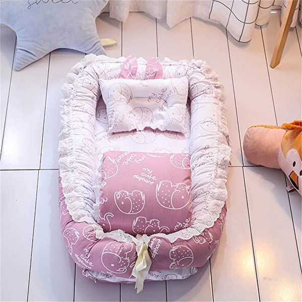 Abreeze Ruffled Baby Bassinet For Bed Purple Pink Elephant Breathable Hypoallergenic Co Sleeping Baby Bed 100 Cotton Portable Crib For Bedroom Travel