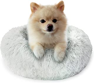 Fluffy Dog Bed for Small Dogs and Cats,Original Calming Donut Dog Bed,Washable Cozy Dog Bed with Extra Soft Anti-Slip Bott...