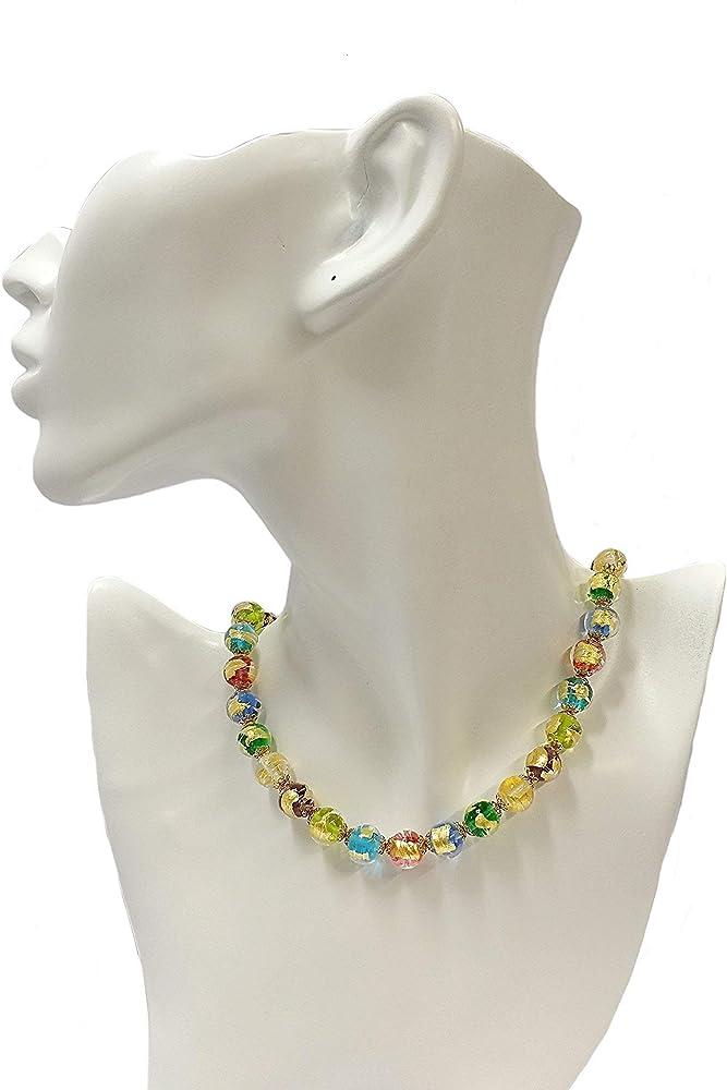 linea italia gioielli collana girocollo per donna con perle multicolor in vetro originale di murano e argento