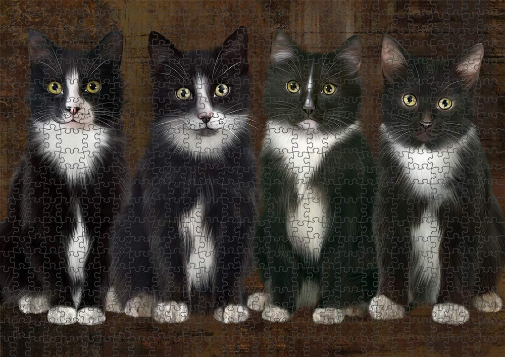 5% OFF Doggie of the Day Rustic New color 4 Tuxedo Cats Tin Photo with PUZ Puzzle