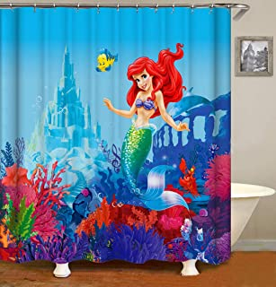 ufengke Shower Curtain Little Mermaid Castle with 12 Hooks Fabric Curtain Polyester Waterproof for Bathroom,72