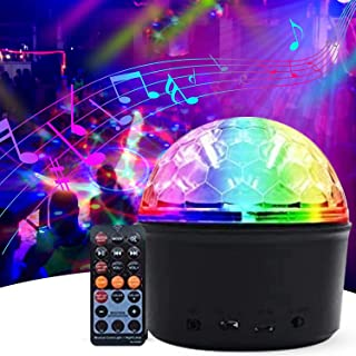 Disco Ball Light,Exulight 9W USB Rechargeable Led Party Lights,9 Colors Sound Activated DJ Projector with Wireless Bluetoo...