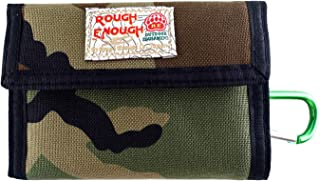 Rough Enough Travel Canvas Bifold Mens Wallet Credit Card Holder Change Coin Purse Camo Basic Front Pocket Money Cash Bag Organizer Case Pouch with Party Gift Set for Boys Women Outdoor School Sport