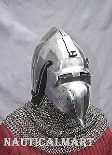 NAUTICALMART Combat Helmet Bascinet SCA LARP Medieval Helmet Fantasy Helmet SCA Helmet LARP Helmet
