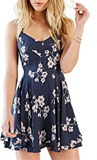 Coli&Tori Women's Vintage A-line Floral Print Crisscross Back Cami Dress/Skater Dress/Summer Dress