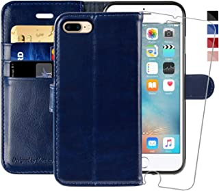 iPhone 7 Plus Wallet Case/iPhone 8 Plus Wallet Case,5.5-inch,MONASAY [Glass Screen Protector Included] Flip Folio Leather Cell Phone Cover with Credit Card Holder