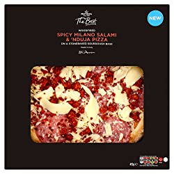 Morrisons The Best Woodfired Spicy Milano Salami & 'Nduja Pizza, 415 g (Frozen)