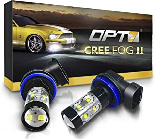 OPT7 H11 (H8 H9 H16) CREE XLamp LED DRL Fog Light Bulbs - 10000K Deep Blue @ 700 Lm per Bulb - All Bulb Sizes and Colors - 1 Year Warranty (Pack of 2)