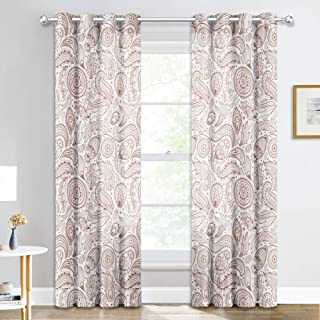 NICETOWN Linen Sheer Curtains with Pattern - Boho Style Paisley Damask Print Semitransparent Window Decor Drape, Privacy with Amount Light for Playroom/Study Room(52x84 in, 2 Pieces, Cappuccino)