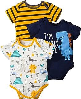 Haokaini Unisex Baby Strampler 3er Pack Dinosaurier Bär Gedruckter Overall für Neugeborene Jungen Jungen Mädchen