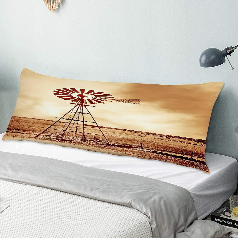 HATESAH Body Pillow Cover NEW Field Windmill Fashionable Pillowc Soft Ultra Long