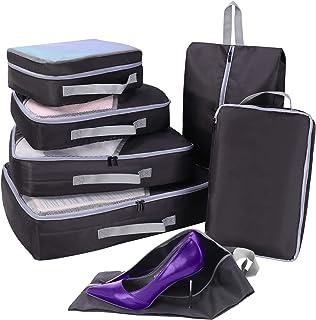 7 مجموعة من منظم السفر والتعبئة مع حقيبة الأحذية، شبكة مقاومة للماء السفر اكسسوارات الأمتعة مجموعة مكعبات التعبئة