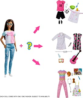 (Brunette) - Barbie Doll with 2 Career Looks That Feature 8 Clothing and Accessory Surprises to Discover with Unboxing, Gi...