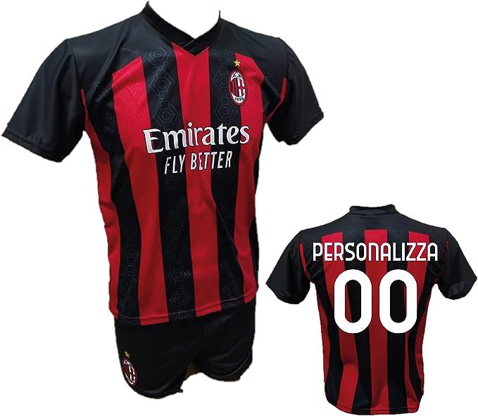 Completo Calcio Maglia Milan Personalizzabile Pantaloncino Replica Autorizzata 2020-2021 Bambino (Taglie 2 4 6 8 10 12) Adulto (SML XL)