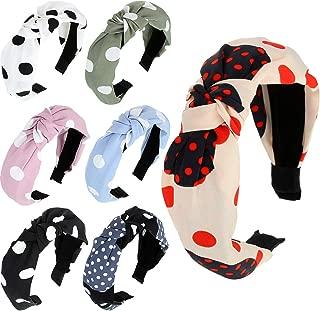 7 Pieces Polka Dot Knot Headband Turban Headbands Bows Wide Headwrap Elastic Head Band Hair Accessories for Women Girls, 7 Colors