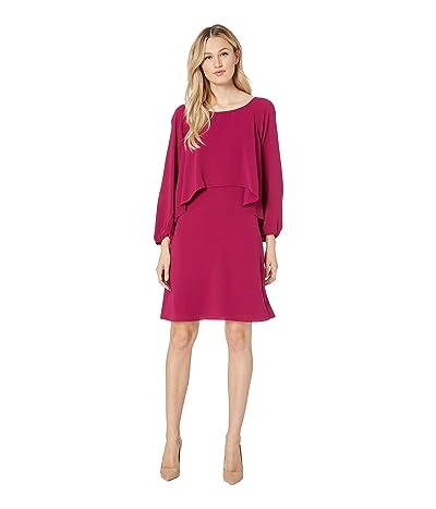 Adrianna Papell Fancy Crepe Cascading Popover Dress (Berry Gem) Women