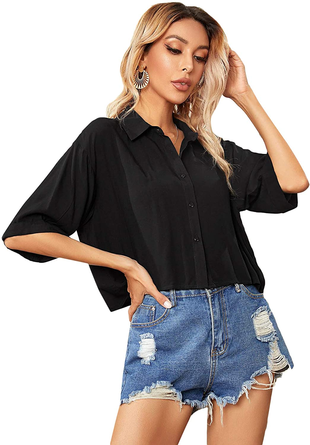 SheIn Women's Button Down Half Sleeve Crop Blouse Shirts V Neck Casual Collared Tops