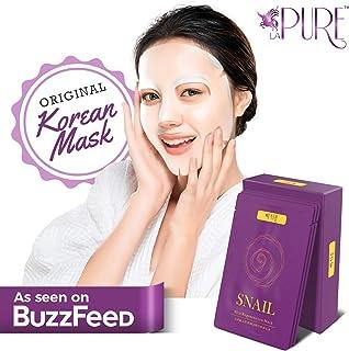 Best LA PURE Korean Face Mask - Hydrating Sheet Mask, Beauty Snail Mask, Anti-Wrinkle Korean Skin Care, Anti-Aging Sheets Pack, Hydration Mask, Deep Moisturizing Facemask, 10 Facial Masks for Women & Men Review