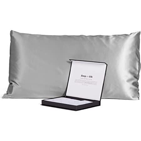 Fishers Finery 30mm 100% Pure Mulberry Silk Pillowcase, Good Housekeeping Quality Tested (Silver, Queen)