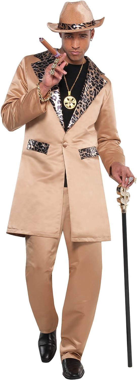 amscan Max 52% OFF 842111 Light Brown Pimp Size Jacket Long-awaited Adult Standard Playa