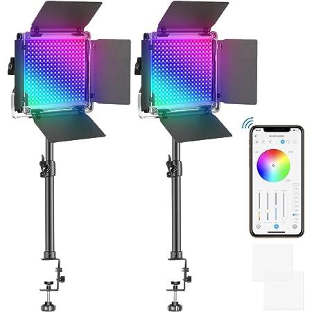 Neewer 2 Paquetes de Luz LED 480 RGB con Control de Aplicaci/ón Iluminaci/ón de Video para Fotograf/ía con Soporte y Caja SMD CRI95//3200K-5600K//Brillo 0-100/%//0-360 Colores Ajustables//9 Escenas Aplicables