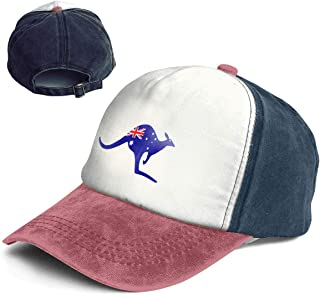 Vintage Kangaroo with an Australia Flag in Cotton Adjustable Washed Dad Hat Baseball Cap