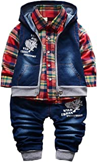 YAO Spring Autumn Baby Boys 3pcs Clothing Set Cotton Shirt Jeans Denim Vest
