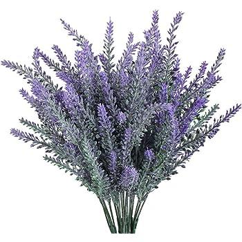VANCORE 6 Pcs Plastic Lavender Bouquet Artificial Flowers for Home and Wedding Decor