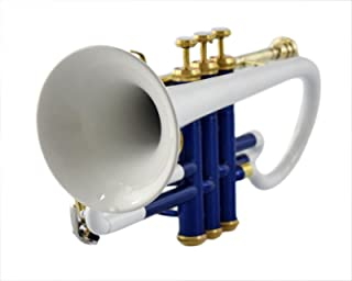 BLUE+WHITE COLOR CORNET Bb PITCH FOR SALE WITH FREE HARD CASE AND MOUTHPIECE