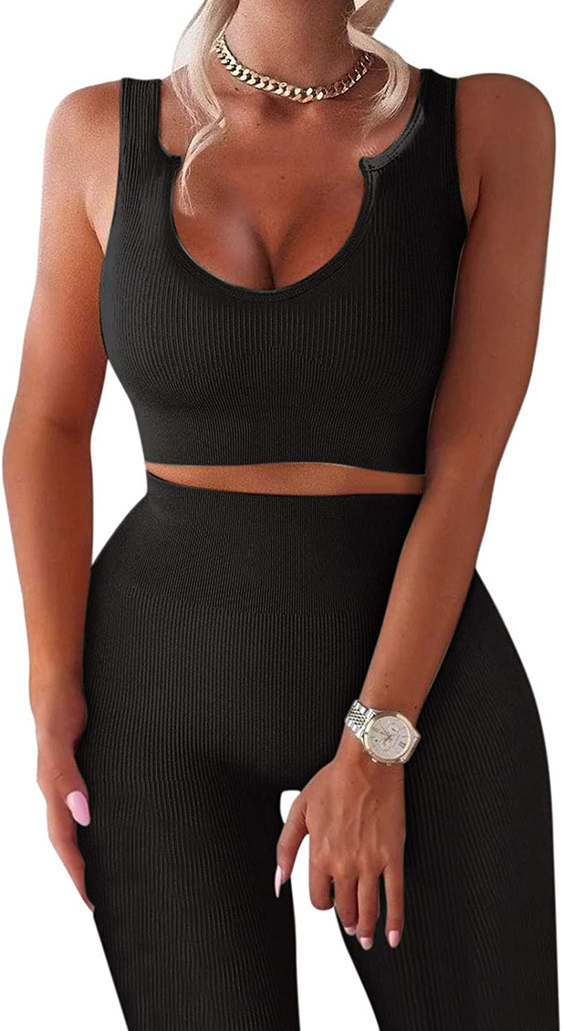 Workout Sets for All stores are sold Women 2 Piece Waist To Cropped Tank Factory outlet Ribbed High