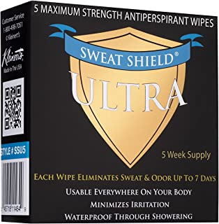 Kleinert's Maximum Strength 15% Ultra Sweat Shield Clinical Antiperspirant Wipes. Eliminate Sweat Everywhere Up To 7 Days - 5 Packets. No Irritation. Dermatologist Recommended. Ships Free