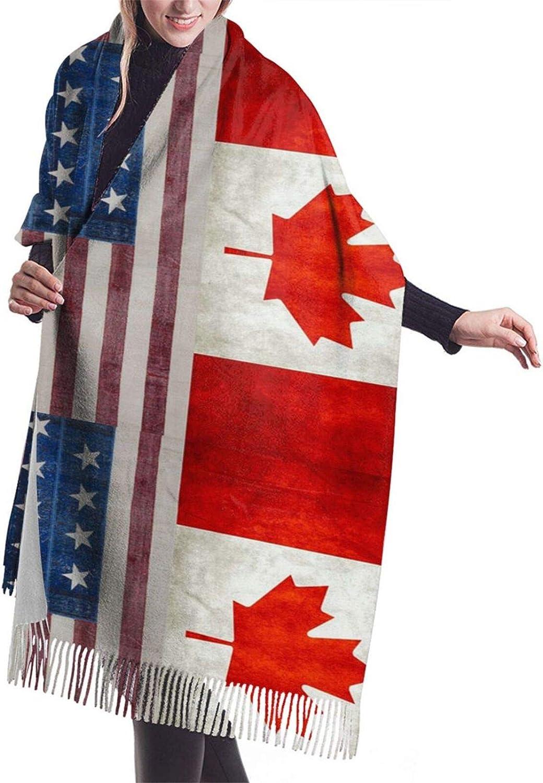 Womens Comfortable Cashmere Scarf,Usa Canada Flag Shawl Scarf,Premium Large Pashmina,Warm Wrap Blanket Solid Shawl Elegant Wrap