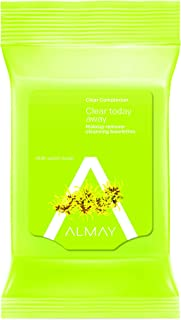 Almay Clear Complexion Makeup Remover Cleansing Towelettes, Hypoallergenic, Cruelty Free, Oil Free, Fragrance Free, Ophthalmologist & Dermatologist Tested, 25 Wipes