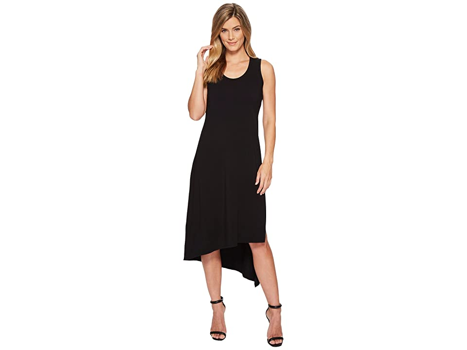 Mod-o-doc Cotton Modal Spandex Jersey Double Layer High Side Slit Tank Dress (Black) Women