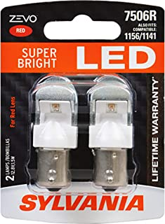 SYLVANIA - 7506 ZEVO LED Red Bulb - Bright LED Bulb, Ideal for Stop and Tail Lights (Contains 2 Bulbs)