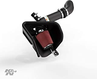 K&N Cold Air Intake Kit with Washable Air Filter:  2015-2019 Volkswagen (Arteon, Golf, Golf R, Golf SportWagen, GTI, Golf Alltrack) 2.0L L4, Black Metal Finish with Red Oiled Filter, 69-9506TTK