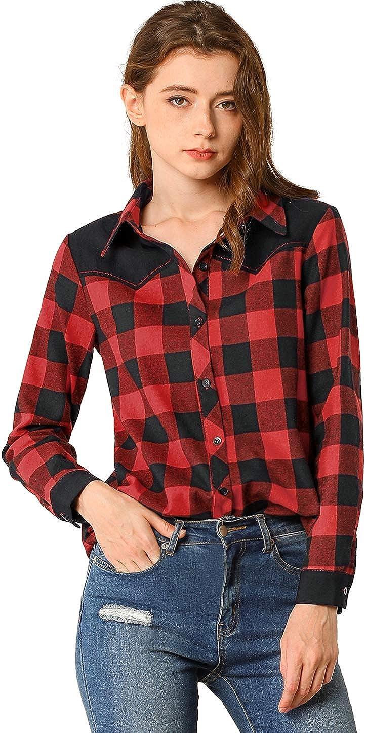Allegra K Women's Check Collared Casual Blouse Button Down Plaid Shirt