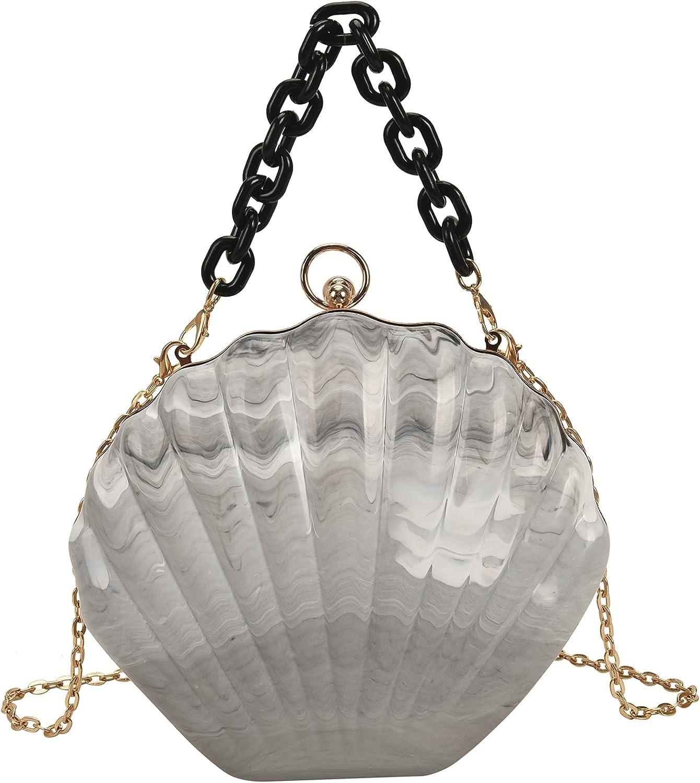 Women Seashell Evening Bag Purse Mermaid Chain Strap Clutch Handbag Shoulder Bag