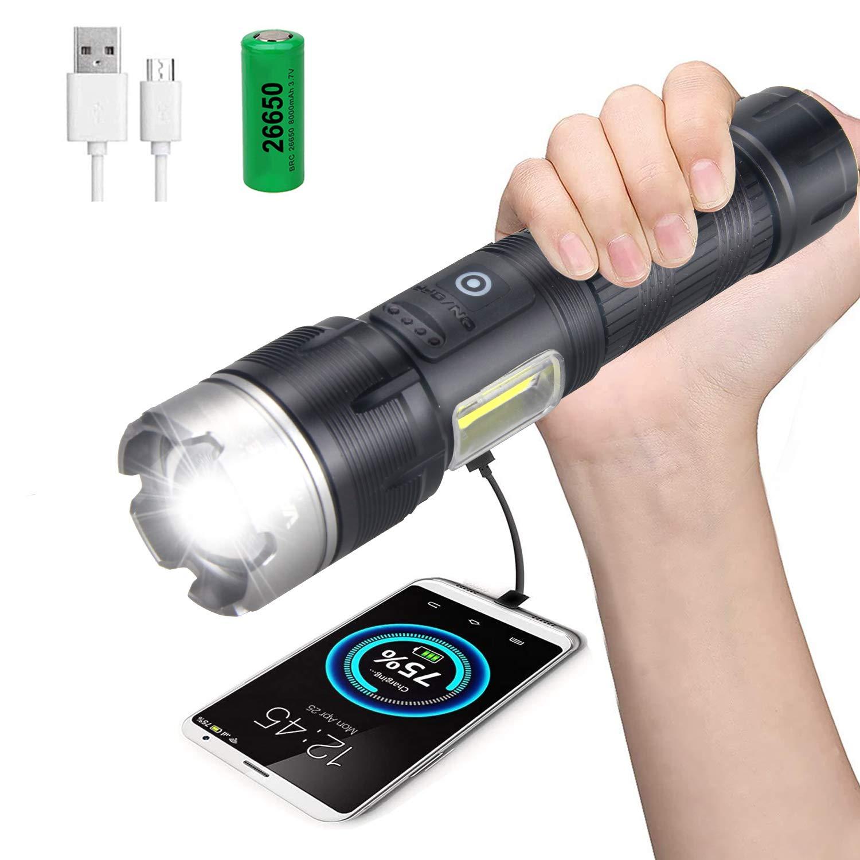 Power Bank 100000 Lumen LED USB Charger Flashlight Zoom Lantern 18650 Battery US