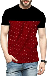 Leotude Men's Cotton Printed T-Shirt Half Sleeve Black Maroon Colour