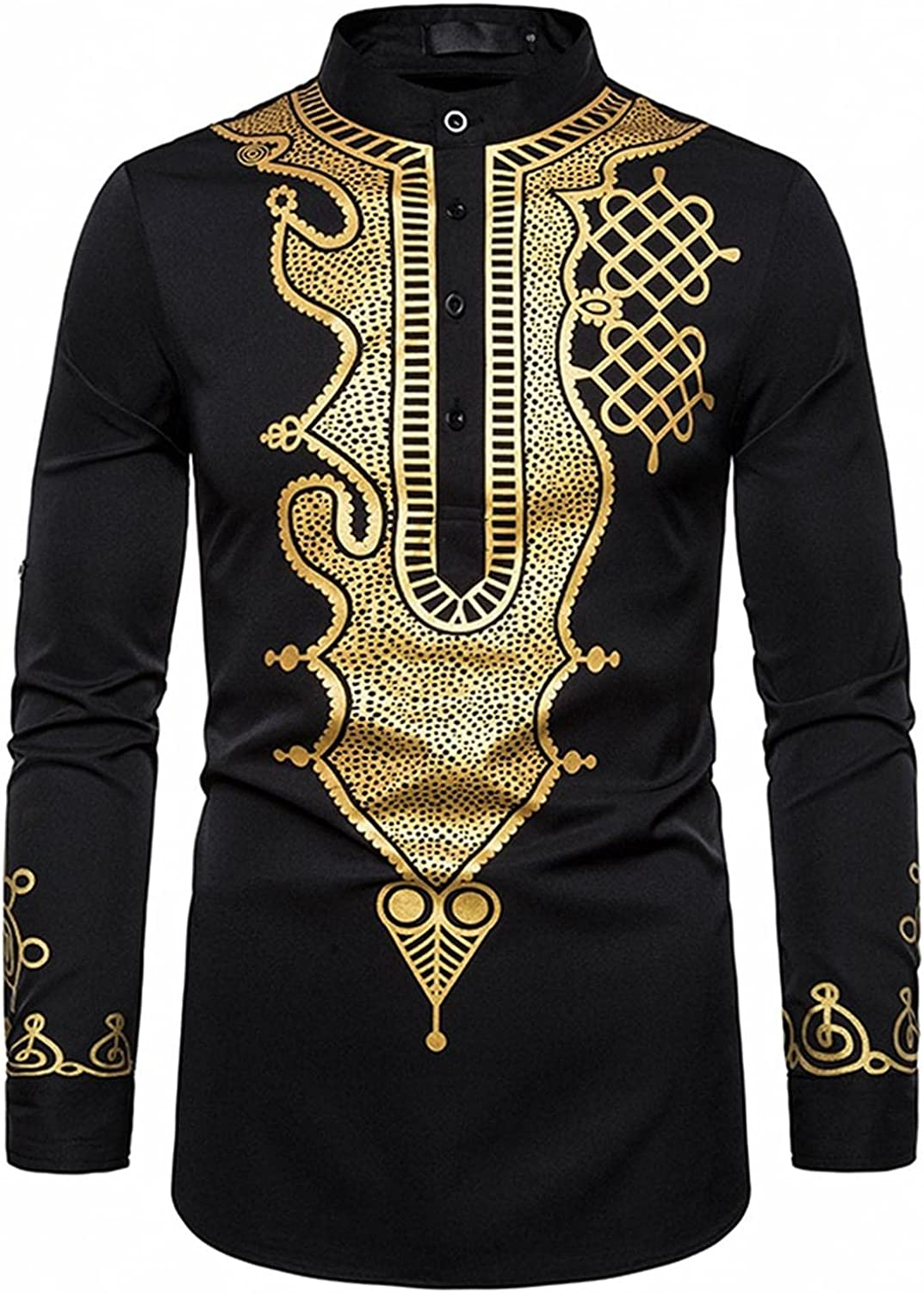 Men's African Dashiki Shirts New popularity Stand Button Collar Print Free Shipping Cheap Bargain Gift Tops Gold