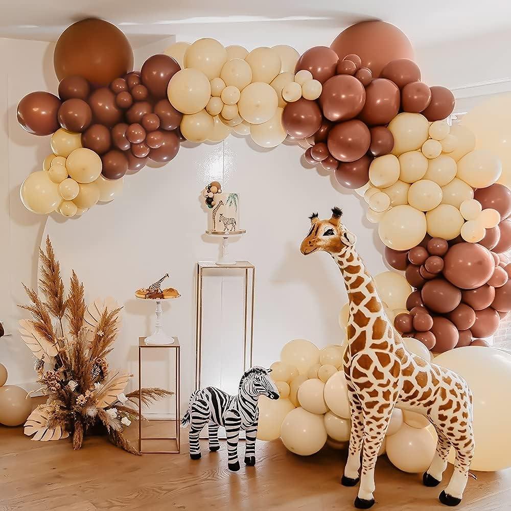 Unisun Kit de arco de globo, 117 unidades, color marrón caramelo y beige globos para decoración de fiestas temáticas de safari, fiesta de cumpleaños, baby shower, suministros de boda