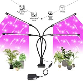 Grow Light for Indoor Plants LED Lamp Bulbs with Red Blue Full Spectrum with 3/9/12H Timer 9 Dimmable Lightness Clip-On Desk Led Plant Growing Lamps 4 Switch Modes with AC Adapter (Grow Light)