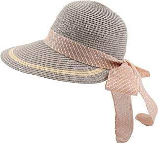 CHENDX Hat Fashion New Sun Hat Straw Hat Elegant Atmosphere Bow Cap Female Holiday Sun Hat (Color : Grey, Size : 60cm or More)