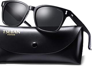 8d69553246 TSEBAN Carré Polarisées Lunettes de Soleil Hommes Vintage UV400 Protection Pour  Sports de Plein, Conduite