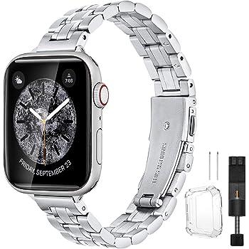 BesBand コンパチブル apple Watch バンド 38mm 40mmと互換性のあるアップグレードバージョンソリッド細い帯ステンレススチール交換,交換用ストラップウィメンズメンズ,iwatch SE/Series 6 5 4 3 2 1 (38mm 40mm, シルバー)