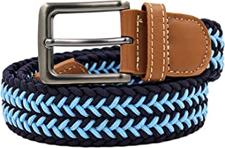 Mens Leather Braided Elastic Stretch Cross Buckle Golf Belt Waistband